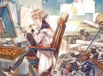 arknights chair coat eating food food_in_mouth joints labcoat mayer_(arknights) medium_hair messy_room pizza pomelo_(ice_blue585) robot robot_joints room shoes short_hair sidelocks sitting sneakers thigh-highs tomboy