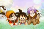 1girl 2boys :d bandana black_eyes black_gloves black_hair blue_neckwear blue_scarf blue_shirt brown_coat brown_gloves capsule_corp coat denim dougi dragon_ball dragon_ball_gt elbow_rest fingerless_gloves giru_(dragon_ball) gloves grass green_eyes hands_on_own_cheeks hands_on_own_face head_rest highres jeans looking_at_viewer lying multiple_boys multiple_moons on_stomach one_eye_closed open_mouth orange_bandana pan_(dragon_ball) pants pipi2020pipi purple_hair purple_sky red_shirt red_wristband robot scarf shirt smile son_goku space_craft trunks_(dragon_ball) wristband