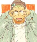 1boy alternate_costume beanie black_hair blush casual contemporary dark_skin dark_skinned_male facial_hair glasses goatee green_eyes green_hair hat highres jacket male_focus multicolored_hair open_clothes open_jacket open_mouth round_eyewear short_hair sketch solo sweater taurus_mask tokyo_houkago_summoners two-tone_hair yakisoba_ohmori