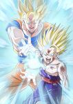 2boys absurdres blonde_hair blue_eyes dougi dragon_ball dragon_ball_z father-son_kamehameha father_and_son highres huge_filesize injury kamehameha long_hair male_focus mitsuria_(kanesho1102) multiple_boys muscular muscular_male open_mouth son_gohan son_goku spiky_hair super_saiyan torn_clothes veins wristband