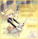 1girl artist_name bangs belt blonde_hair brown_eyes character_name chuchu_(pokemon) commentary_request dated day eyelashes fishing_rod gen_1_pokemon grass happy_birthday hat highres holding holding_fishing_rod kinui_88 open_mouth outdoors pants pikachu pokemon pokemon_(creature) pokemon_adventures pokemon_on_arm short_hair sitting smile straw_hat teeth tongue tree yellow_(pokemon)