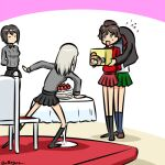 akaboshi_koume bangs boko_(girls_und_panzer) brown_hair cake chair food girls_und_panzer itsumi_erika kogane_(staygold) kuromorimine_military_uniform long_sleeves lowres multiple_girls nishizumi_maho nishizumi_miho ooarai_school_uniform school_uniform shirt short_hair skirt table wavy_hair