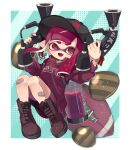1girl absurdres american_football_(object) artist_name bandaid bandaid_on_knee bandaid_on_leg bangs bike_shorts black_shorts blunt_bangs blunt_ends boots clam_shell colored_tongue commentary domino_mask dual_wielding fang fangs floating highres holding ink_tank_(splatoon) inkling inkling_(language) knees_up long_hair long_sleeves looking_at_viewer mask mikoshiba_m open_mouth pointy_ears print_shirt purple_footwear purple_hair purple_shirt purple_tongue shirt shorts signature single_vertical_stripe skin_fang smile solo splat_dualies_(splatoon) splatoon_(series) splatoon_2 straight-laced_footwear tentacle_hair violet_eyes