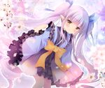 1girl blue_kimono blue_ribbon blush bow brown_eyes closed_mouth commentary_request dutch_angle feet_out_of_frame flower hair_ribbon hand_up japanese_clothes kimono kyouka_(princess_connect!) long_hair long_sleeves looking_at_viewer petals pink_flower princess_connect! princess_connect!_re:dive purple_hair ribbon ribbon_trim shirogane_hina sitting smile solo twintails very_long_hair wide_sleeves yellow_bow