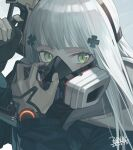 agent_416_(girls_frontline) black_gloves blue_coat coat cropped dated facial_mark gas_mask girls_frontline gloves green_eyes grey_gloves gun hair_ornament highres hk416_(girls_frontline) holding holding_gun holding_weapon hood hood_down long_hair mask multicolored multicolored_clothes multicolored_gloves seyana signature tom_clancy's_the_division two-tone_gloves watch watch weapon white_hair