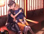 2girls apex_legends bench black_bodysuit black_hair blonde_hair blue_sweater blush bodysuit breasts closed_eyes crossed_legs cup drinking_glass drunk grey_eyes hair_behind_ear hair_bun hand_on_another's_shoulder highres holding holding_cup lantern leaning_on_person looking_down medium_breasts multiple_girls open_mouth ribbed_sweater sa10yul sakazuki short_hair sitting smile sweater wattson_(apex_legends) wraith_(apex_legends) yuri