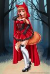 1girl alternate_costume animal_ears bangs black_footwear black_gloves blunt_bangs blush breasts brown_hair closed_mouth collarbone elbow_gloves eyebrows_visible_through_hair fox_ears fox_girl fox_tail gloves high_heels highres holo large_breasts long_hair looking_at_viewer over-kneehighs racoon-kun red_eyes smile solo spice_and_wolf tail thigh-highs wet white_legwear