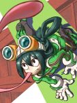 1girl 4o080_yotabnc asui_tsuyu black_eyes bodysuit boku_no_hero_academia bow_by_hair commentary_request frog_girl gloves goggles goggles_on_head green_bodysuit green_hair hair_between_eyes hair_rings highres long_hair long_tongue low-tied_long_hair solo tongue tongue_out very_long_tongue