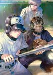 3boys absurdres bangs baseball_bat baseball_helmet baseball_mitt baseball_uniform belt black_belt black_eyes black_footwear black_hair black_pants black_shirt closed_mouth collared_shirt cowboy_shot day facing_another full_body fushiguro_megumi gojou_satoru helmet highres holding holding_baseball_bat jujutsu_kaisen kyuuba_melo long_sleeves looking_away male_focus multiple_boys outdoors pants shirt shoes short_sleeves sportswear squatting sunglasses toudou_aoi_(jujutsu_kaisen) white_hair white_pants white_shirt