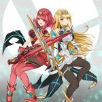 2girls absurdres aegis_sword_(xenoblade) bangs bare_shoulders black_gloves black_legwear blonde_hair breasts chest_jewel dress earrings elbow_gloves feet_out_of_frame fingerless_gloves gloves highres jewelry large_breasts long_hair looking_at_viewer multiple_girls mythra_(xenoblade) pantyhose pyra_(xenoblade) red_eyes red_shorts redhead sarasadou_dan short_dress short_hair short_shorts shorts super_smash_bros. swept_bangs thigh-highs thigh_strap tiara very_long_hair white_dress white_footwear white_gloves xenoblade_chronicles_(series) xenoblade_chronicles_2 yellow_eyes