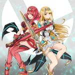 2girls absurdres aegis_sword_(xenoblade) bangs bare_legs bare_shoulders black_gloves blonde_hair breasts chest_jewel dress earrings elbow_gloves feet_out_of_frame fingerless_gloves gloves highres jewelry large_breasts long_hair looking_at_viewer multiple_girls mythra_(xenoblade) pyra_(xenoblade) red_eyes red_shorts redhead sarasadou_dan short_dress short_hair short_shorts shorts swept_bangs thigh-highs thigh_strap tiara very_long_hair white_dress white_footwear white_gloves xenoblade_chronicles_(series) xenoblade_chronicles_2 yellow_eyes
