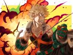 1boy 4o080_yotabnc bakugou_katsuki belt blonde_hair boku_no_hero_academia clenched_teeth commentary_request explosion explosive gauntlets gloves grenade highres looking_away male_focus red_eyes solo spiky_hair teeth two-tone_background utility_belt white_background yellow_background