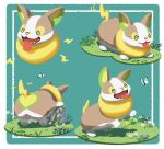 4o080_yotabnc blue_flower bug butterfly commentary_request flower gen_8_pokemon glasses grass green_eyes highres insect lightning_bolt no_humans open_mouth pokemon pokemon_(creature) pokemon_(game) pokemon_swsh tongue tongue_out white_flower yamper yellow_flower