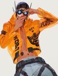 1boy apex_legends belt black_belt black_headwear blue_eyes cowboy_shot goggles grey_background grey_pants hand_gesture hood hooded_jacket iwamoto_zerogo jacket leaning_back looking_at_viewer male_focus navel octane_(apex_legends) orange_jacket pants smile solo white_background