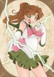 1girl back_bow bishoujo_senshi_sailor_moon bow brooch brown_background brown_hair choker circlet cowboy_shot earrings elbow_gloves electricity gloves green_eyes green_neckwear green_sailor_collar green_skirt hair_bobbles hair_ornament jewelry kino_makoto legs_apart long_hair looking_at_viewer magical_girl open_mouth pink_bow pleated_skirt ponytail sailor_collar sailor_jupiter sailor_senshi_uniform skirt solo standing stud_earrings white_gloves xiuren