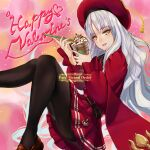 1girl :d amanesan bangs black_legwear brown_footwear caren_hortensia_(amor_caren) copyright_name drinking_straw eyebrows_visible_through_hair fate/grand_order fate_(series) floating_hair from_side hair_between_eyes happy_valentine hat highres holding loafers long_hair long_sleeves looking_at_viewer miniskirt open_mouth pantyhose pleated_skirt red_headwear red_shirt red_skirt shiny shiny_hair shirt shoes silver_hair sitting skirt smile solo very_long_hair yellow_eyes