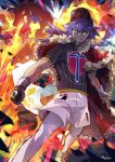1boy bangs baseball_cap cape champion_uniform charizard clenched_hand clenched_teeth commentary dark_skin dark_skinned_male dynamax_band english_commentary facial_hair fur-trimmed_cape fur_trim gen_1_pokemon gigantamax gigantamax_charizard gloves hat highres leon_(pokemon) long_hair looking_at_viewer male_focus number pokemon pokemon_(creature) pokemon_(game) pokemon_swsh purple_hair red_cape ryairyai shirt short_sleeves shorts single_glove smile teeth white_legwear white_shorts yellow_eyes