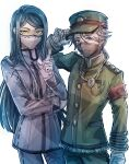 2boys bandaged_hands bandages bangs black_hair brown_eyes chain chain_necklace commentary_request copyright_request cowboy_shot danganronpa_(series) danganronpa_v3:_killing_harmony gloves green_eyes green_headwear green_jacket green_pants grey_background grey_eyes grey_jacket grey_pants hand_up hat highres index_finger_raised jacket jewelry long_hair long_sleeves looking_at_viewer male_focus mask mouth_mask multiple_boys nagare_re_dai necklace pants shinguuji_korekiyo shiny shiny_hair short_hair short_ponytail standing white_gloves