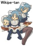 3girls age_comparison aliasing apron aqua_eyes aqua_hair baby bangs blue_dress blue_legwear blush book brown_legwear character_name child closed_mouth commentary disconnected_mouth dress english_commentary eyebrows_visible_through_hair frills full_body hair_ornament holding holding_book invisible_chair kasuga_(kasuga39) long_hair long_sleeves looking_at_viewer mouth_hold multiple_girls multiple_persona no_shoes oekaki official_art older open_book open_mouth pacifier pantyhose puzzle_piece_hair_ornament reading simple_background sitting smile time_paradox twintails waist_apron white_apron white_background wikipe-tan wikipedia younger