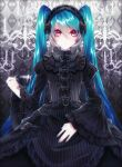 1055 1girl bangs black_bow black_dress blue_hair blue_nails bow closed_mouth collared_dress cup dress frilled_dress frills gothic_lolita hair_between_eyes hair_bow hatsune_miku highres holding holding_cup layered_dress lolita_fashion long_dress long_hair looking_at_viewer nail_polish red_eyes shiny shiny_hair solo standing striped teacup twintails vertical-striped_dress vertical_stripes very_long_hair vocaloid
