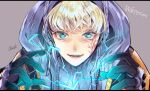 apex_legends artist_name black_gloves blonde_hair blue_eyes blue_sweater character_name chromatic_aberration close-up electricity eyebrows_behind_hair gloves grey_background hood hood_up jacket lichtenberg_figure open_hands open_mouth orange_jacket osushimax ribbed_sweater scar scar_on_cheek scar_on_face smile sweater turtleneck upper_body wattson_(apex_legends)