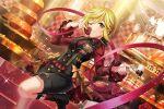blonde_hair blush brown_eyes d4dj dress short_hair tsukimiyama_nagisa wink