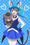 1girl :3 :d animal_ears black_cape black_headwear blue_background blue_collar blue_gloves blue_hair blue_skirt blue_vest blush braid cape cat_ears cat_girl cat_tail collar collared_vest commentary_request cowboy_shot detached_collar detached_sleeves evil_smile eyebrows_visible_through_hair gloves goggles goggles_on_headwear hair_between_eyes hand_on_hip hat heart holding holding_stuffed_toy long_hair low-tied_long_hair low_twintails mewkledreamy namesake onomekaman open_mouth orange_eyes pleated_skirt pointy_ears polka_dot polka_dot_background precure red_ribbon ribbon shadow simple_background skirt smile star_(symbol) star_twinkle_precure stuffed_animal stuffed_cat stuffed_toy tail thigh-highs torn_cape torn_clothes twin_braids twintails vest white_collar white_legwear white_sleeves yuni_(mewkledreamy) yuni_(precure) zettai_ryouiki
