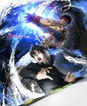 2boys abs black_hair blood blood_on_face character_request dougi energy_beam headband highres large_pectorals male_focus motion_blur multiple_boys muscular muscular_male nipples nishiide_kengorou pants ryu_(street_fighter) shirtless short_hair spiky_hair stomach street_fighter veins white_pants