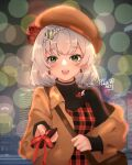1girl alternate_costume artist_name bag bangs blurry blush bokeh box braid brown_coat brown_headwear city coat depth_of_field dwisart earrings eyebrows_visible_through_hair flower genshin_impact gift green_eyes hair_ornament hat highres holding holding_gift jewelry lens_flare noelle_(genshin_impact) open_mouth short_hair smile solo turtleneck upper_body