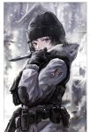 1girl absurdres arknights artist_name belt black_hair blue_eyes border canadian_flag coat dated frost_(rainbow_six_siege) gloves hand_up hat highres holding holding_knife knife long_sleeves military mole mole_under_eye outside_border rainbow_six_siege sawkm short_hair snow snowing solo tactical_clothes utility_belt white_border winter_clothes winter_coat
