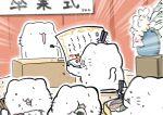 absurdres blurry blurry_foreground chopsticks commentary depth_of_field diploma eating fish food full_mouth graduation highres karameru microphone obentou onigiri open_mouth original podium shrimp shrimp_tempura tempura vase