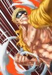 1boy 4o080_yotabnc action blonde_hair boku_no_hero_academia bruise clenched_teeth commentary_request domino_mask highres hood hoodie injury jacket male_focus mask muscular muscular_male orange_background solo teeth torn_clothes torn_jacket toyomitsu_taishiro visible_air yellow_jacket zipper