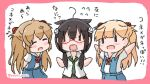 3girls ahoge arms_behind_back bespectacled black_hair blonde_hair blue_skirt blush_stickers closed_eyes commentary_request cosplay cowboy_shot dress_shirt glasses hair_flaps hair_over_shoulder kantai_collection light_brown_hair long_hair look-alike looking_at_viewer low_twintails makinami_mari_illustrious makinami_mari_illustrious_(cosplay) multiple_girls murasame_(kancolle) neon_genesis_evangelion outstretched_arms poipoi_purin rebuild_of_evangelion red-framed_eyewear school_uniform shigure_(kancolle) shikinami_asuka_langley shikinami_asuka_langley_(cosplay) shirt skirt souryuu_asuka_langley twintails two_side_up white_background white_shirt yuudachi_(kancolle) |_| ||_||