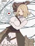 1girl bangs belt blonde_hair blue_eyes blush breasts brown_gloves brown_skirt gloves grace_(granblue_fantasy) granblue_fantasy heart highres large_breasts ll_0109 long_sleeves looking_at_viewer parted_bangs shirt short_hair silk skirt smile spider_web spoken_heart white_shirt wire