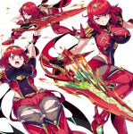 bangs black_gloves breasts chest_jewel earrings fingerless_gloves gloves highres jewelry large_breasts leggings pyra_(xenoblade) red_eyes red_legwear red_shorts redhead shimure_(460) short_hair short_shorts shorts super_smash_bros. swept_bangs thigh-highs tiara xenoblade_chronicles_(series) xenoblade_chronicles_2