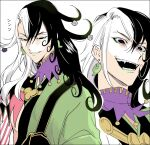 1boy ashiya_douman_(fate) asymmetrical_clothes asymmetrical_hair bell black_eyes black_hair collar curly_hair earrings eyeshadow fangs fate/grand_order fate_(series) fingernails furrowed_eyebrows green_eyeshadow green_kimono green_lips green_nails hadanugi_dousa hair_bell hair_between_eyes hair_ornament japanese_clothes jewelry jitome kimono long_hair magatama magatama_earrings makeup multicolored_hair multiple_views open_clothes open_kimono open_mouth purple_collar ribbed_sleeves sharp_fingernails smirk toned toned_male two-tone_hair very_long_fingernails very_long_hair white_hair wide-eyed yagiuma_(tsurupica)