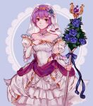1girl bangs bernadetta_von_varley black_eyes blue_flower blue_ribbon blush closed_mouth detached_sleeves dress eyebrows_visible_through_hair fire_emblem fire_emblem:_three_houses flower grey_background hairband holding holding_staff layered_dress long_dress long_sleeves looking_at_viewer orange_hairband purple_hair rheamii ribbon shiny shiny_hair short_hair sketch sleeveless sleeveless_dress smile solo staff standing strapless strapless_dress veil white_dress white_sleeves