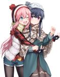 2girls beanie blue_eyes blue_hair blush eye_contact fingerless_gloves gloves ha_en hat highres hug hug_from_behind kagamihara_nadeshiko long_hair looking_at_another multiple_girls one_eye_closed open_mouth pantyhose pink_hair poncho scarf shima_rin shorts simple_background smile upper_teeth violet_eyes white_background winter_clothes yuri yurucamp