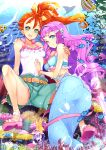2girls blue_eyes bracelet breasts commentary_request coral coral_reef fish green_eyes green_shorts hamuhamu jewelry laura_(precure) long_hair looking_at_viewer medium_breasts mermaid midriff monster_girl multiple_girls natsuumi_manatsu open_mouth orange_hair pink_footwear pink_hair precure sandals shorts side_ponytail sitting smile thick_eyebrows tropical-rouge!_precure underwater