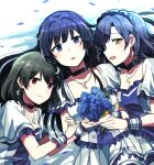 3girls bangs blue_eyes blue_flower blue_hair bouquet brown_eyes choker crescent crescent_earrings crescent_necklace dress earrings eyebrows_visible_through_hair flower frilled_dress frills green_hair highres holding holding_bouquet idol idolmaster idolmaster_million_live! idolmaster_million_live!_theater_days jewelry lix looking_at_viewer lying mogami_shizuka multiple_girls nagayoshi_subaru nanao_yuriko open_mouth short_sleeves smile white_dress wrist_cuffs yellow_eyes