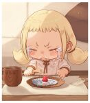 1girl :< blonde_hair blush border brown_neckwear brown_ribbon cake child closed_eyes commentary_request couch crying cup food fork fruit holding holding_fork hood hoodie indoors low_twintails mat medium_hair original parted_lips pillow pink_hoodie ribbon shirt short_bangs sidelocks sleeves_past_elbows solo steam strawberry streaming_tears table tears twintails v-shaped_eyebrows white_border yu_kozato