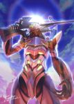 character_request clouds cloudy_sky extra_eyes glowing glowing_eyes green_eyes gun holding holding_gun holding_weapon lens_flare light_rays mecha neon_genesis_evangelion no_humans outdoors over_shoulder post-apocalypse rainbow ruins signature sky totthii0081 weapon weapon_over_shoulder