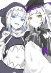 2girls animal_hood artist_request bangs black_gloves blue_eyes blunt_bangs bright_pupils brown_eyes capelet double_bun flat_chest gawr_gura gloves hand_on_own_chest hand_up hat highres hololive hololive_english hood licking_lips looking_at_viewer midriff monochrome multicolored_hair multiple_girls multiple_monochrome murasaki_shion navel no_panties no_pants no_shirt open_mouth pinstripe_pattern shark_hood sharp_teeth side-by-side sidelocks simple_background sketch slit_pupils smirk smug spot_color stomach streaked_hair striped teeth tongue tongue_out trait_connection white_background white_hair white_pupils witch witch_hat