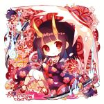 1girl bangs bare_legs black_hair blush cherry_blossom_print cherry_blossoms chibi closed_mouth floral_print full_body geta hibi89 holding holding_umbrella horns japanese_clothes katana kimono long_hair looking_at_viewer merc_storia nail_polish oni oni_horns red_eyes red_nails sitting solo sword todomeki_(merc_storia) umbrella weapon
