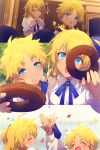 1boy 1girl ahoge alternate_eye_color alternate_hair_color bangs blonde_hair blue_eyes blush breasts cis05 closed_eyes collared_shirt command_spell confetti doughnut dress_shirt fate/grand_order fate/requiem fate_(series) food fujimaru_ritsuka_(female) hair_ornament hair_scrunchie high_five long_sleeves looking_at_viewer medium_breasts multiple_views one_side_up open_mouth parted_bangs scrunchie shirt short_hair smile voyager_(fate) white_shirt