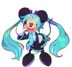 1boy animal animal_ears aqua_hair black_skirt black_sleeves blue_eyes blue_neckwear boots commentary cosplay crypton_future_media detached_sleeves disney full_body girly_boy gloves hair_ornament hatsune_miku hatsune_miku_(cosplay) high_heels leaning_forward long_hair looking_at_viewer mickey_mouse mickey_mouse_(series) mouse_boy mouse_ears mouse_tail necktie no_humans open_mouth rainbow_outline simple_background skirt solo strwbwwymlk tail thigh-highs thigh_boots transparent_background trap twintails very_long_hair vocaloid what white_background white_gloves