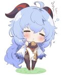 1girl =_= ahoge akano_yomi anklet artist_name bare_shoulders bell black_gloves blue_hair blush bodystocking bubble chibi chinese_knot closed_eyes cowbell detached_sleeves drooling eyebrows_visible_through_hair full_body ganyu_(genshin_impact) genshin_impact gloves goat_horns gold_trim highres horns jewelry long_hair long_sleeves neck_bell no_nose open_mouth pelvic_curtain saliva sleeping sleeping_upright solo standing triangle_mouth white_footwear