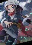 1girl absurdres black_hair blue_eyes blush closed_mouth commentary_request eyelashes female_protagonist_(pokemon_legends:_arceus) floating_scarf head_scarf highres leaves_in_wind long_hair looking_at_viewer miyama-san pantyhose pokemon pokemon_(game) pokemon_legends:_arceus ponytail pouch red_scarf sash scarf sidelocks smile socks solo spread_fingers yellow_bag