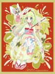 1girl arrow_(projectile) artist_name bangs blonde_hair blush border closed_mouth commentary_request dated eyelashes floral_print flower full_body gen_7_pokemon green_eyes hair_flower hair_ornament holding holding_arrow japanese_clothes kimono kokoroko lillie_(pokemon) looking_at_viewer outline pokemon pokemon_(creature) pokemon_(game) pokemon_masters_ex pouch ribombee sash smile socks white_legwear wide_sleeves