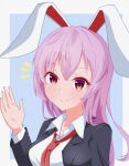 1girl closed_mouth commentary_request hand_up highres long_hair looking_at_viewer notice_lines purple_hair red_eyes reisen_udongein_inaba smile solo tasuku_(tusktouhou4) touhou upper_body